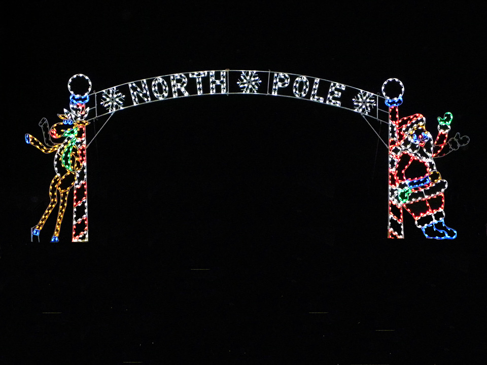 Santa And Moose at North Pole Arch Outdoor Holiday Decoration